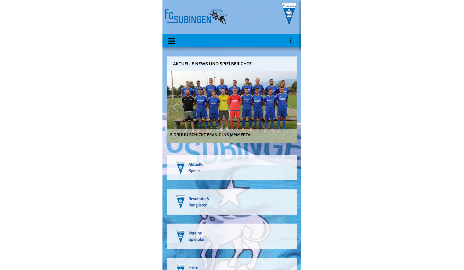 Mobile Ansicht der Vereinswebseite