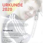 Sponsorenurkunde für Fairgate von Special Olympics Switzerland